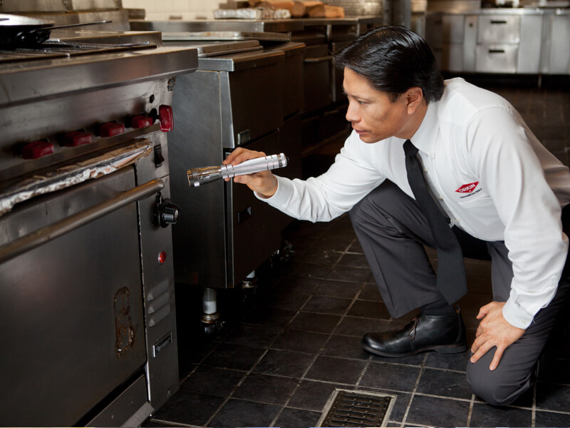 Orkin Canada Technician inspecting a Restaurant kitchen