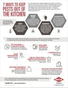 Tips sheet to keep pests out of the kitchen