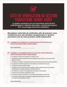 Liste de vérification de gestion parasitaire avant audit