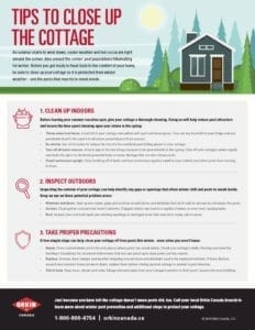 Tip sheet for closing up the cottage