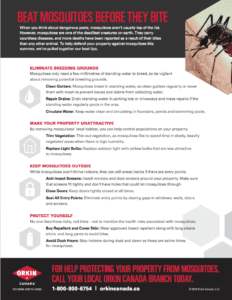 Tip sheet to preventing mosquito bites
