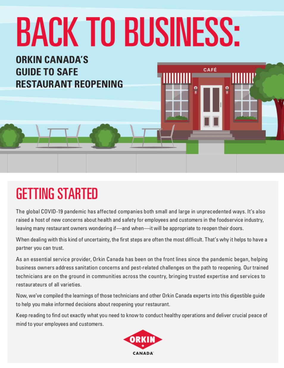 Orkin Guide for reopening restaurants