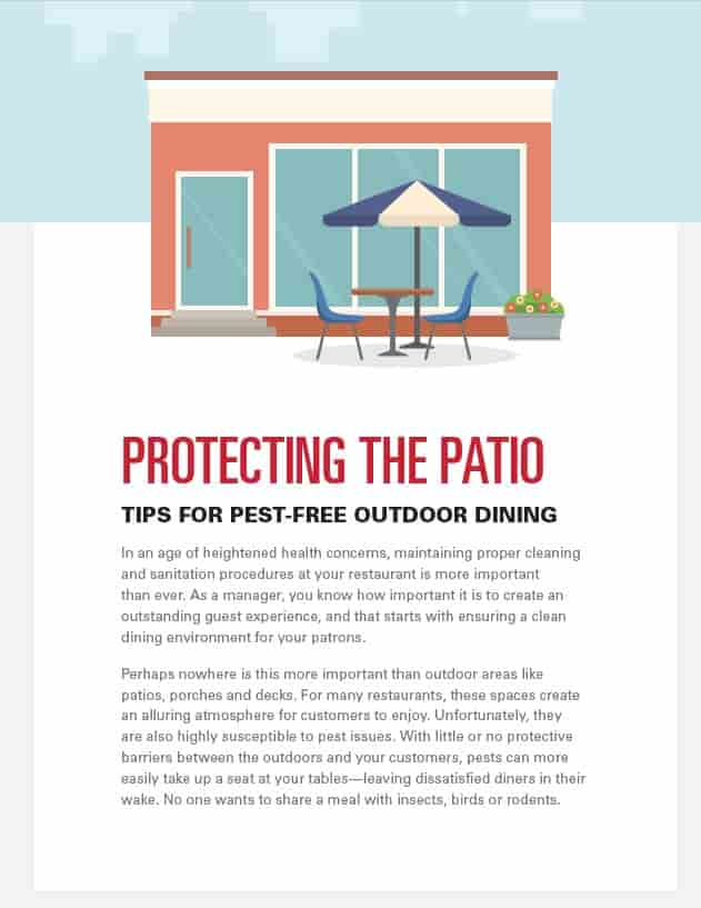 Tip sheet to providing a pest free outdoor dining experience
