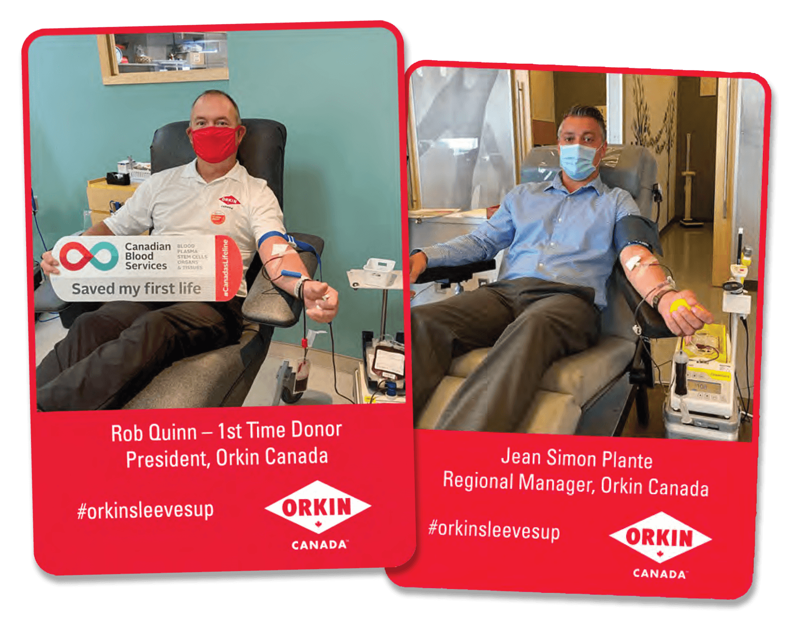 Images of Orkin Canada President Rob Quinn and Regional Manager of Eastern Canada Jean Simon Plante donating blood